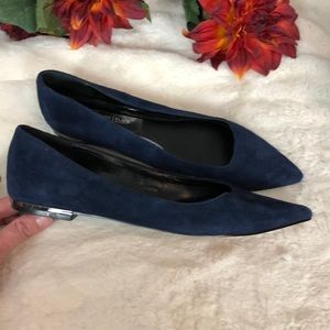 White House Black Market navy suede flats